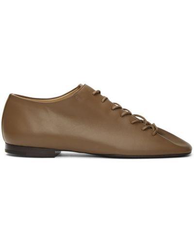 Кожаные коричневые дерби на шнурках Lemaire