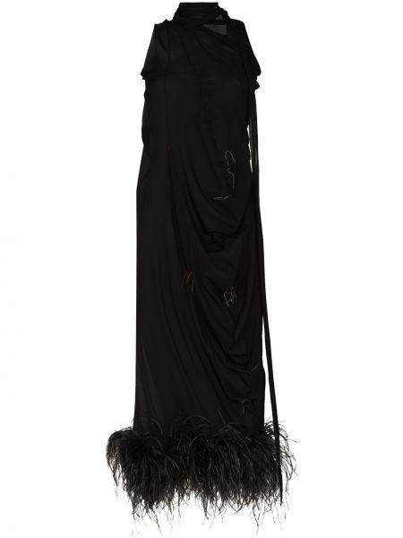 Шелковое платье миди - черное Maison Margiela