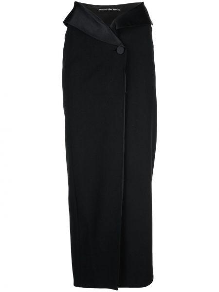 Prosto wełniany czarny spódnica maxi z cięciem Alexander Wang