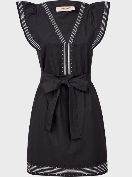 Хлопковое черное платье с поясом Twin-set