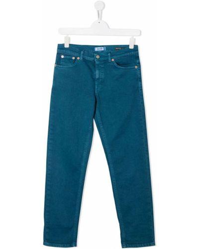 Прямые синие прямые джинсы стрейч с заплатками Dondup Kids