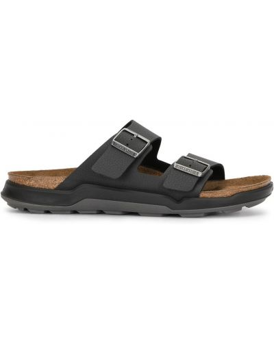 Skórzany czarny sandały z klamrą płaska podeszwa Birkenstock