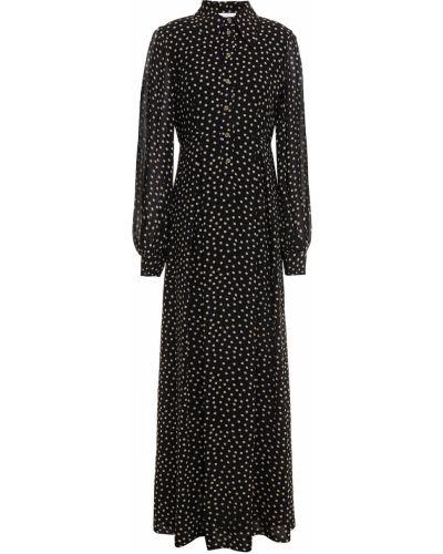 Плиссированное черное платье макси с подкладкой Ganni