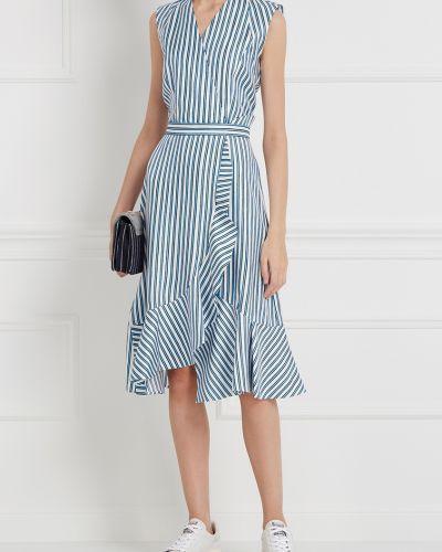 Платье с поясом с запахом в полоску Carven