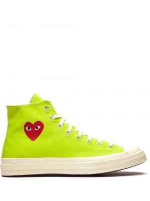 Зеленые высокие кеды на шнуровке Converse
