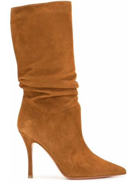 Замшевые коричневые ботинки на каблуке Amina Muaddi
