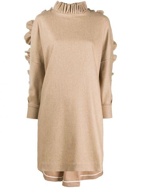 Вязаное платье мини с оборками с воротником свободного кроя Teija
