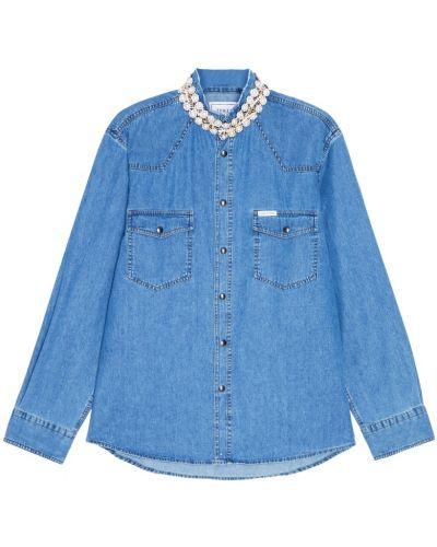 Джинсовая рубашка с вышивкой - синяя Forte Couture