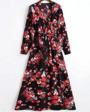 Платье макси с цветочным принтом с поясом Zaful