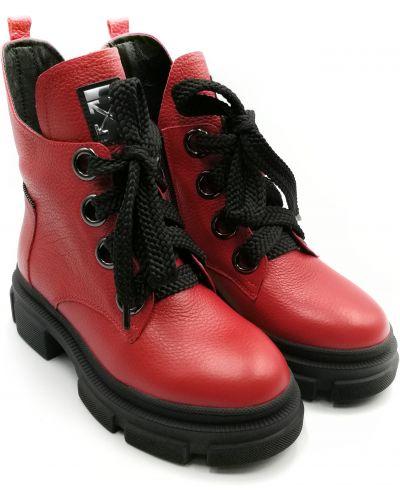Кожаные ботинки - красные Teona