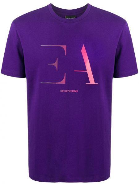 Koszula krótkie z krótkim rękawem z logo fioletowy Emporio Armani