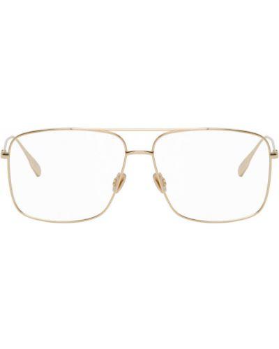 Кожаные очки авиаторы квадратные золотые Dior