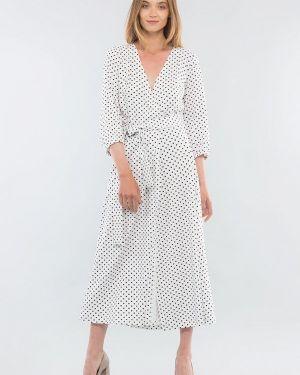 Белое однобортное платье Maxa