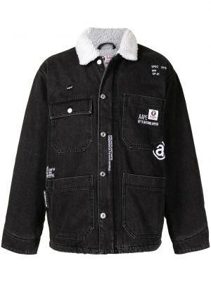Хлопковая черная джинсовая куртка с воротником Aape By A Bathing Ape