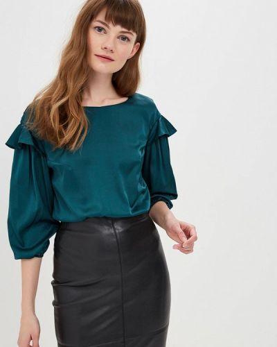 Блузка с длинным рукавом бирюзовая весенний Gepur