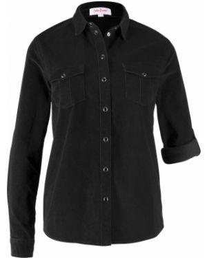Черная рубашка вельветовая Bonprix