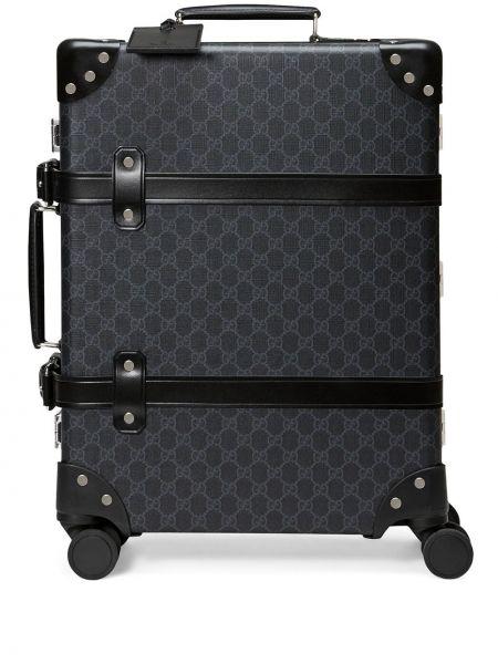 Кожаный черный чемодан Gucci