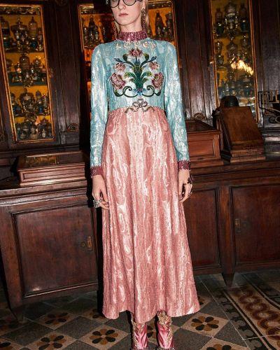 Платье с пайетками с цветочным принтом с длинными рукавами с бантом Gucci