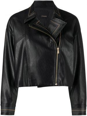Черная кожаная короткая куртка байкерская Pinko