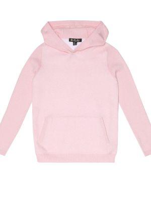 Bluza z kapturem z kapturem różowy Loro Piana Kids