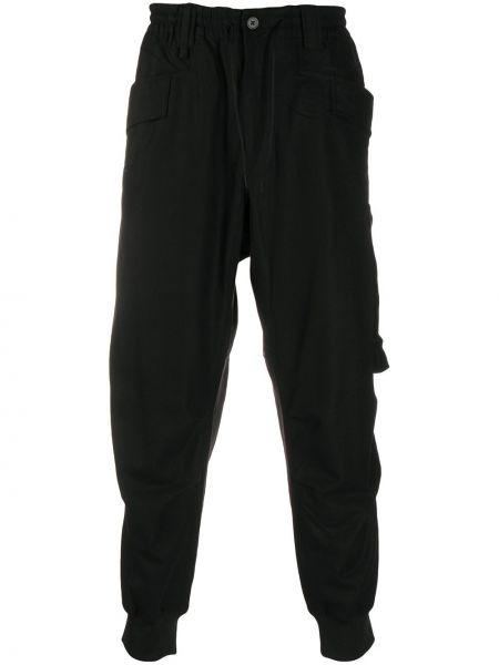 Prosto wełniany czarny joggery z kieszeniami Y-3