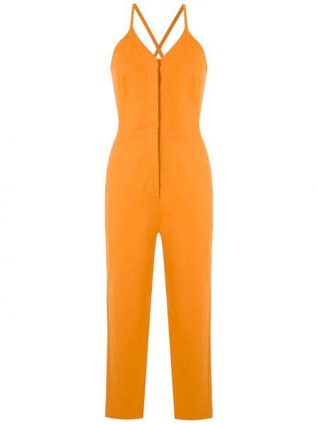 Хлопковый оранжевый комбинезон с карманами Andrea Marques