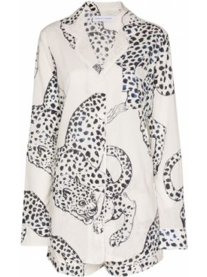 Biała piżamy z szortami bawełniana z długimi rękawami Desmond & Dempsey