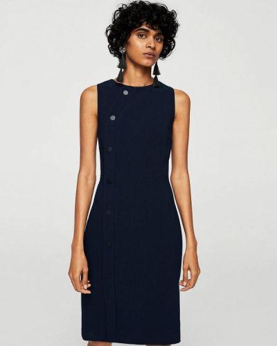 Синее платье футляр Mango