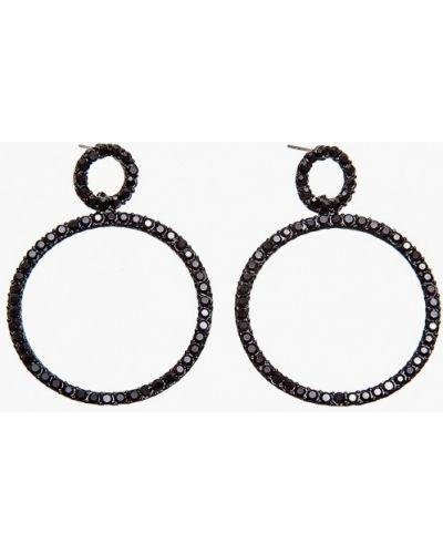 Черные серьги-кольца Aiyony Macie