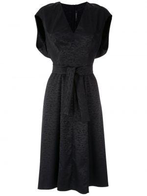 Платье миди с V-образным вырезом - черное À La Garçonne