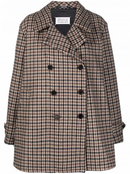 Коричневое пальто на пуговицах Maison Margiela