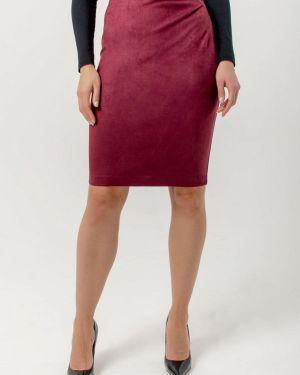 Кожаная юбка осенняя красный Kotis Couture