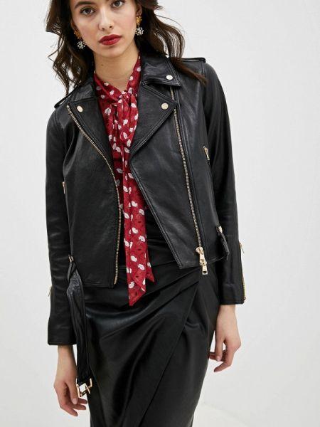 Кожаная куртка весенняя черная Liu Jo