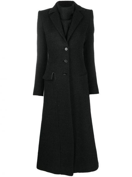 Черное длинное пальто из альпаки с воротником Ssheena