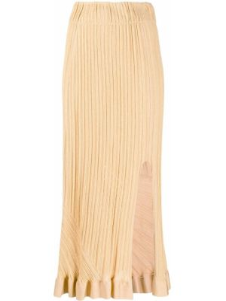 Желтая юбка с разрезом с оборками Chloé