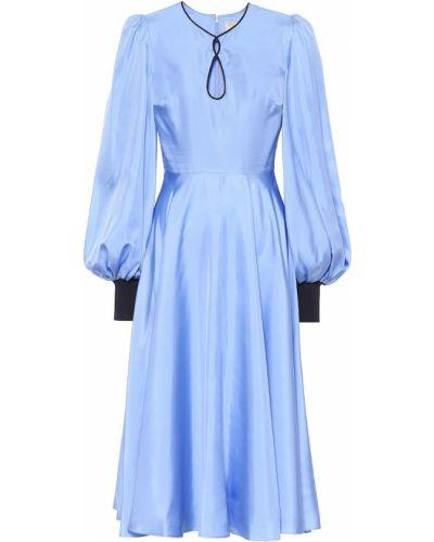 Платье миди шелковое синее Roksanda