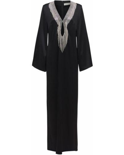 Czarna sukienka z haftem Sandra Mansour