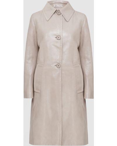 Бежевое кожаное пальто Prada