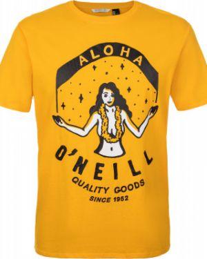 Прямая хлопковая спортивная желтая футболка O`neill
