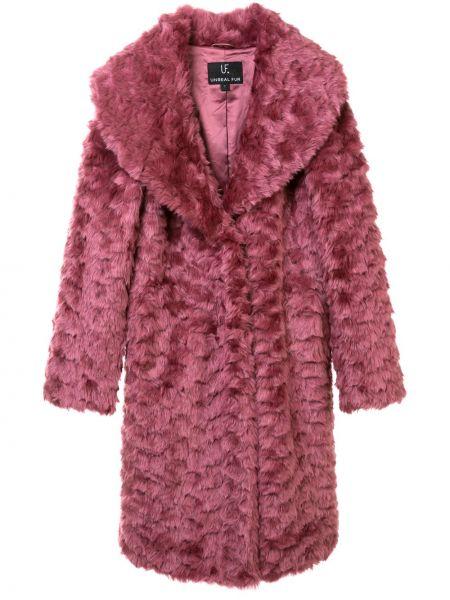 Розовая длинная шуба из искусственного меха с подкладкой Unreal Fur