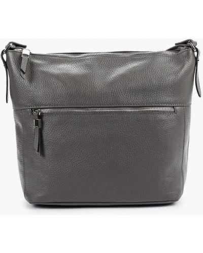 Кожаная сумка через плечо серая Afina