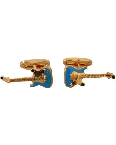 Niebieskie złote spinki do mankietów Dolce And Gabbana