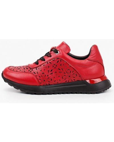 Красные кожаные кроссовки Laremo