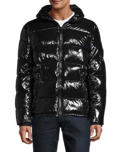 Нейлоновая черная длинная куртка с капюшоном Calvin Klein