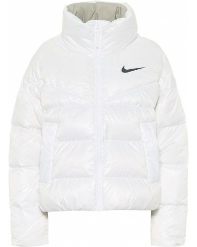 Пуховая приталенная белая стеганая куртка с драпировкой Nike