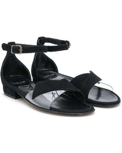 Кожаные черные сандалии с пряжкой на каблуке Lanvin Enfant