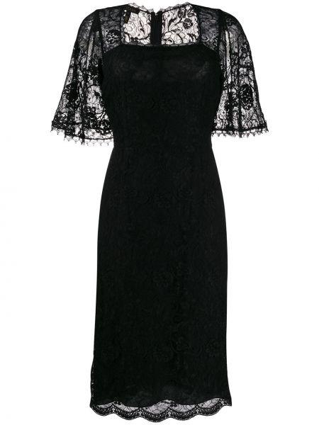 Шелковое черное платье миди с вырезом с короткими рукавами Escada