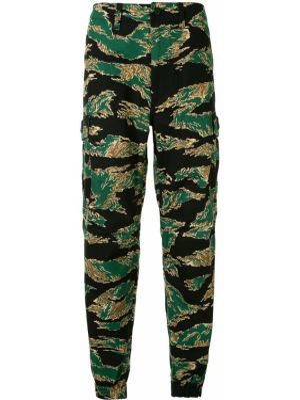 Зеленые брюки с карманами с манжетами на пуговицах Bape
