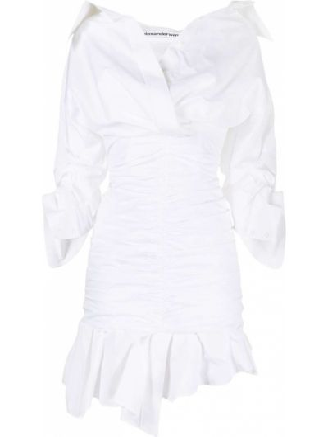 Sukienka z dekoltem w serek - biała Alexander Wang