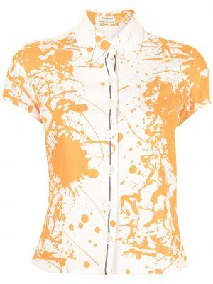 Biała koszula z printem Hermes